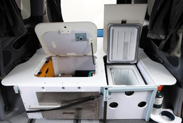Beta 2S campervan Australia storage and fridge freezer